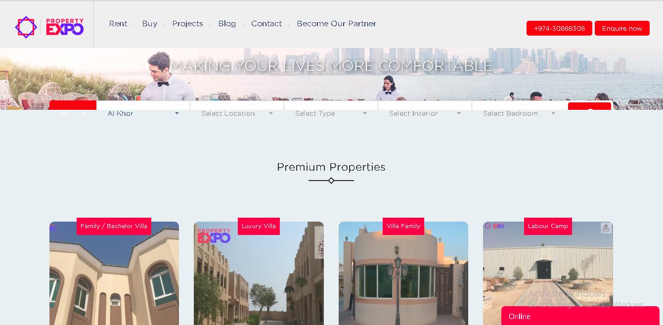Website Design - Property Expo Qatar - ERP Software & Apps
